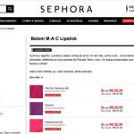 Promo de batons MAC no site da Sephora *
